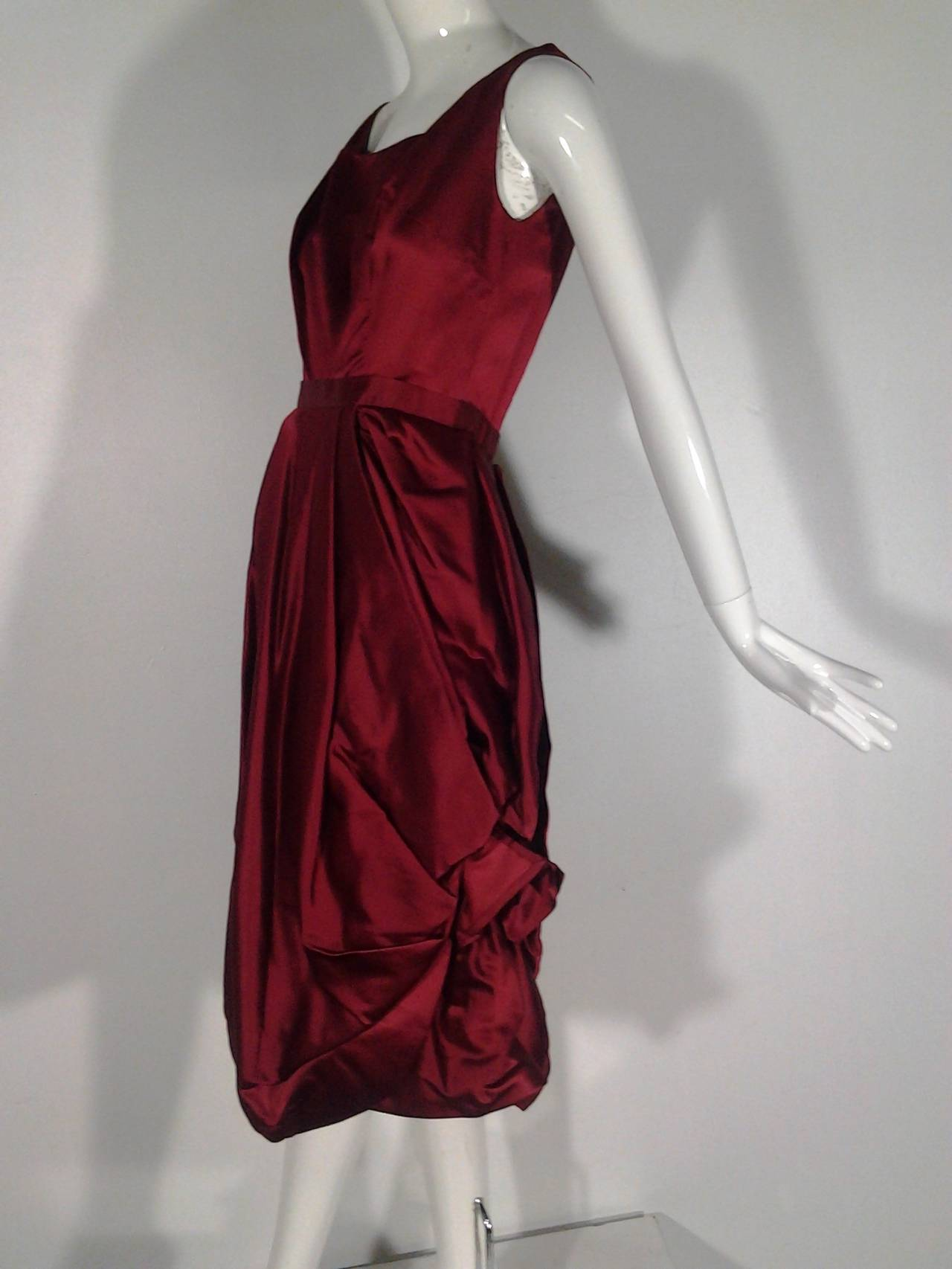 1950s Nan Duskin Red Cocktail Dress Featuring Floral Inspired Draped Skirt 3