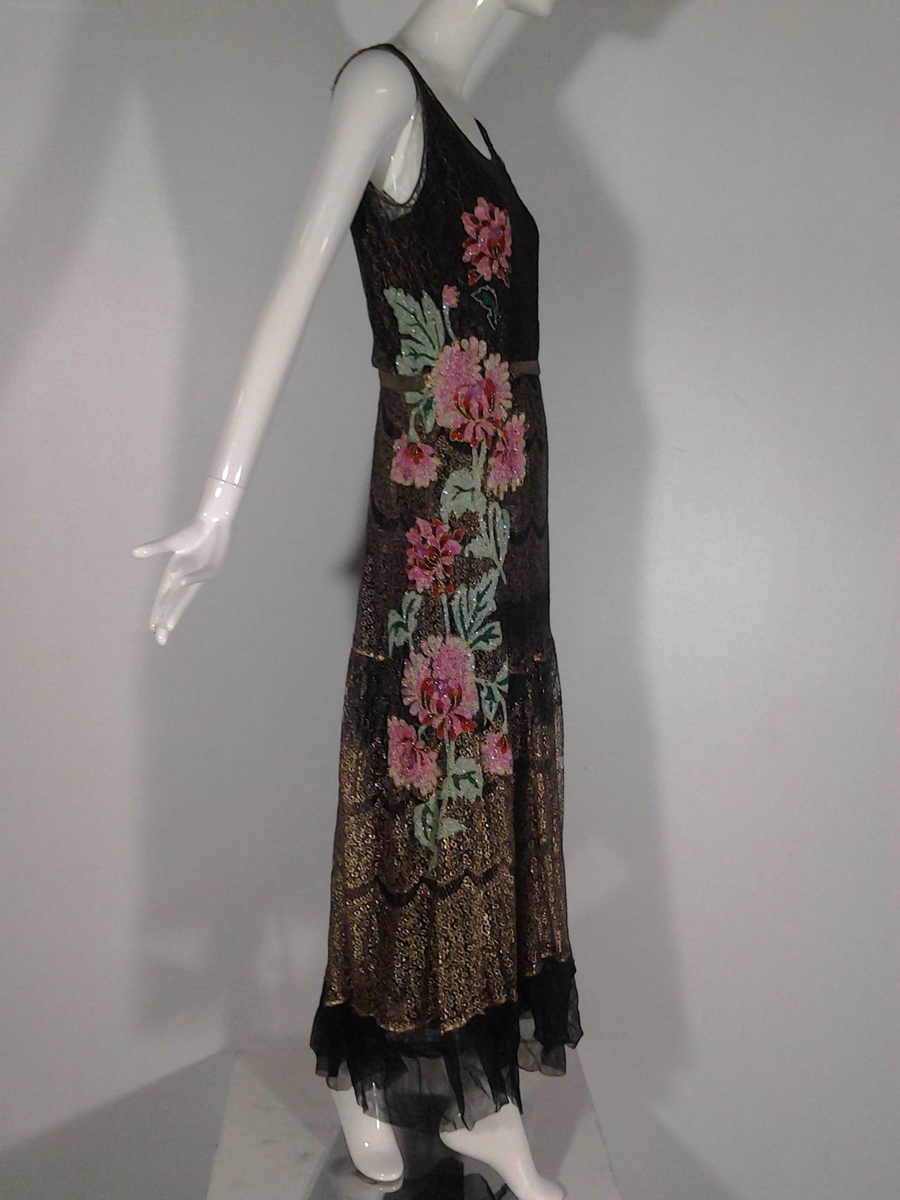 1920s French Evening Gown with Gold Lame and Elaborate Beading