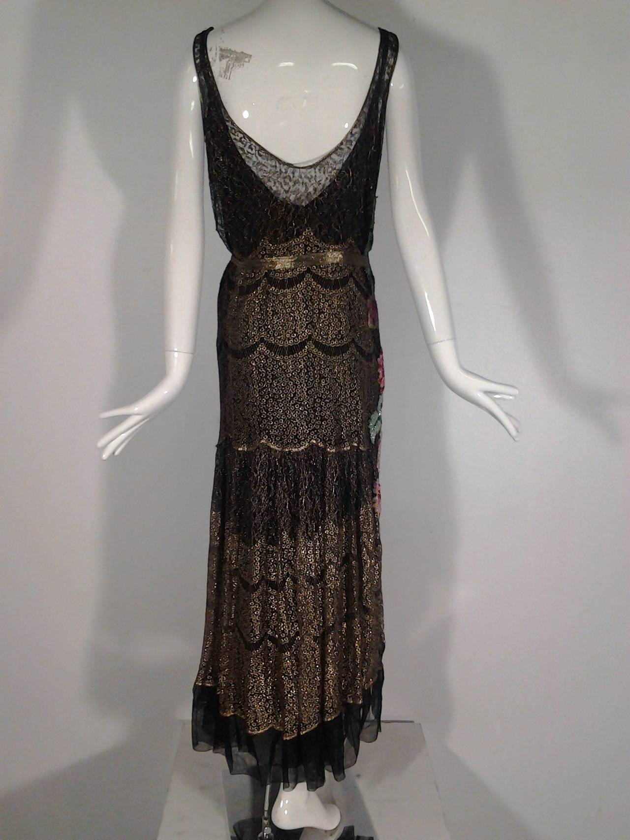 1920s French Evening Gown with Gold Lame and Elaborate Beading In Excellent Condition For Sale In San Francisco, CA