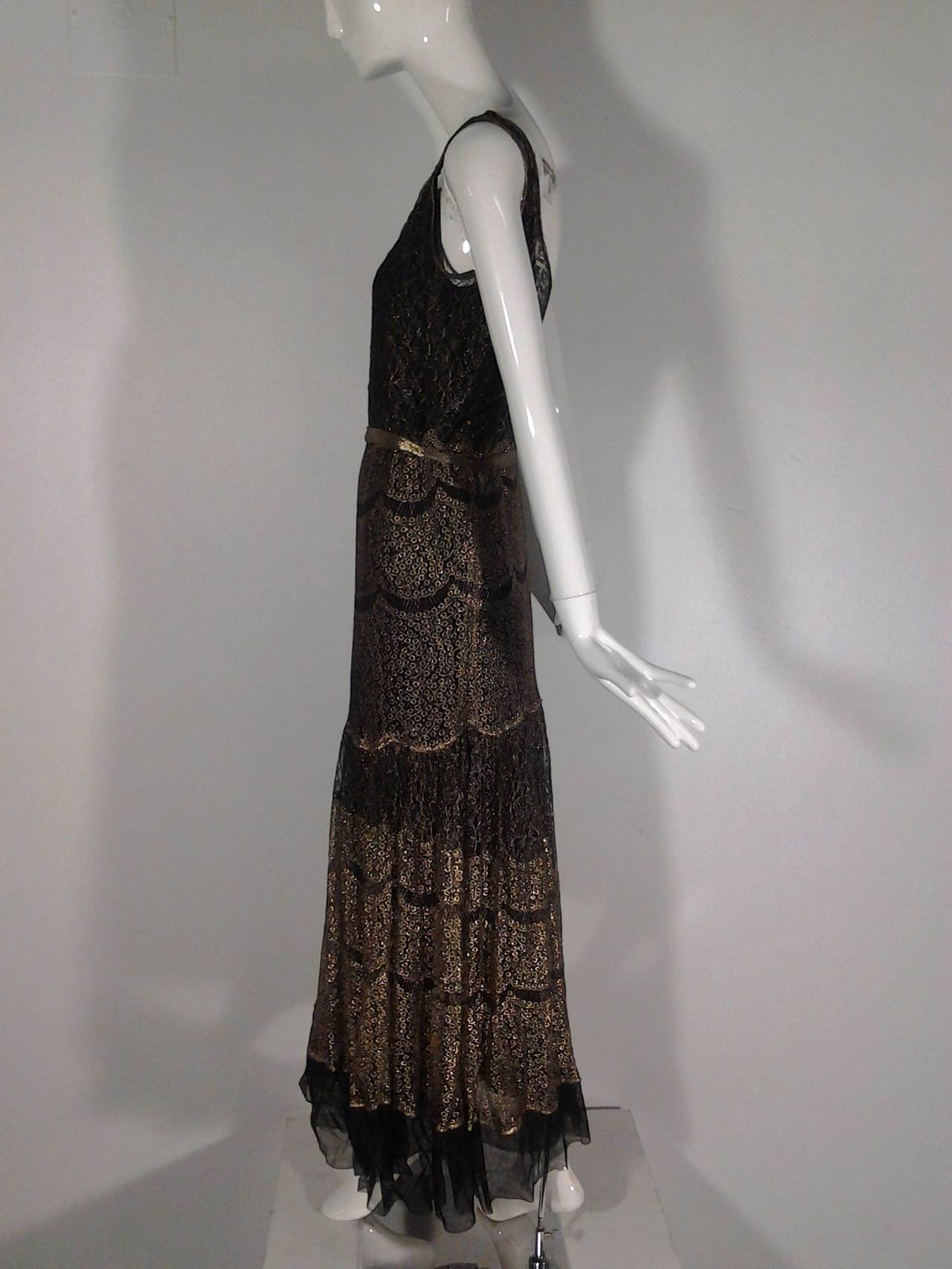 Black 1920s French Evening Gown with Gold Lame and Elaborate Beading For Sale