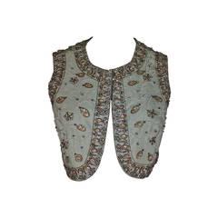 1960s I Magnin Rhinestone, Bead and Pearl Sage Green Vest in Raw Silk