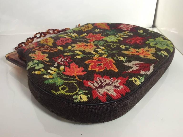 Women's 1950s Autumn Leaves Needle Point Handbag with Celluloid Frame and Chain For Sale