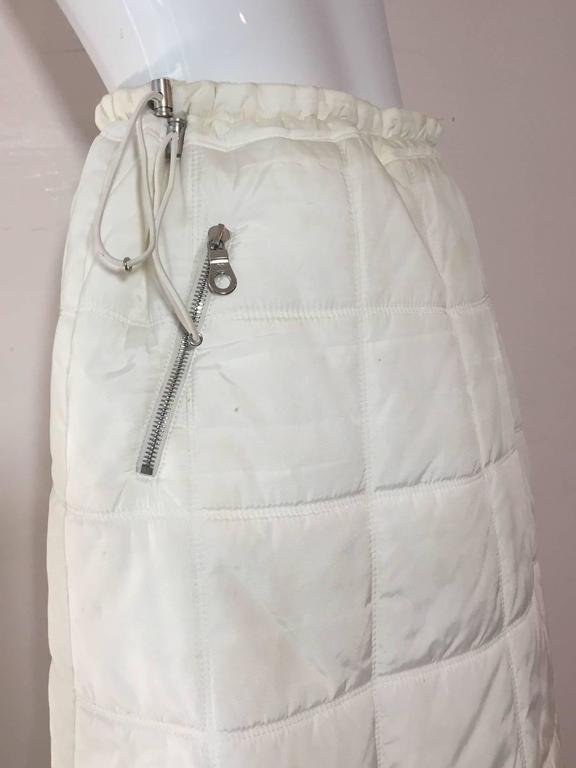 Chanel Autumn 2000 White Quilted Puffer A-Line Skirt w/ Side Zip 4