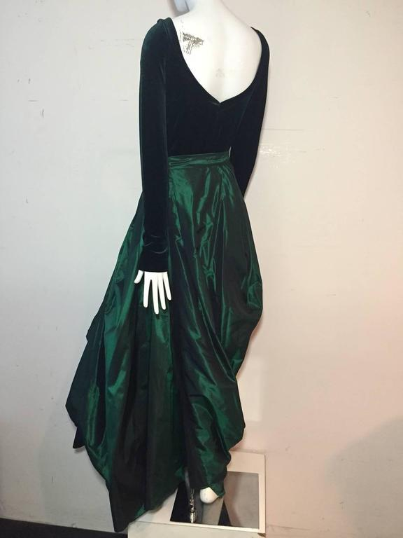 1990s Gianfranco Ferre Forest Green Silk Taffeta and Velvet Ball Gown 6
