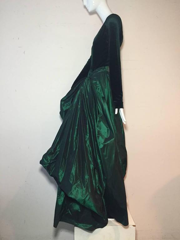 Women's 1990s Gianfranco Ferre Forest Green Silk Taffeta and Velvet Ball Gown For Sale