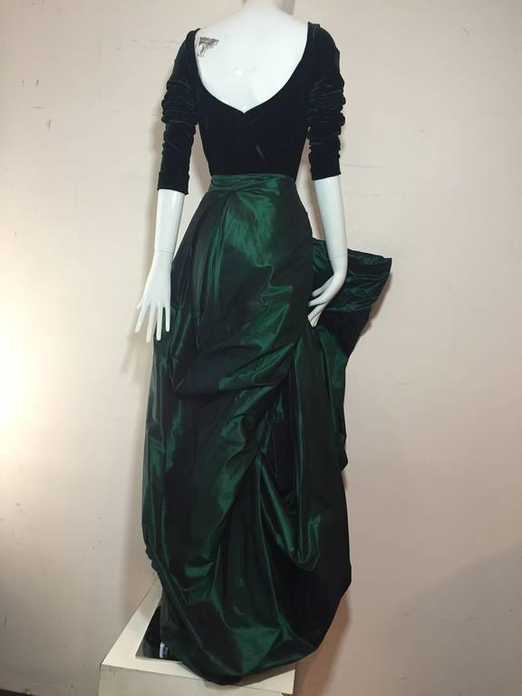 1990s Gianfranco Ferre Forest Green Silk Taffeta and Velvet Ball Gown 3