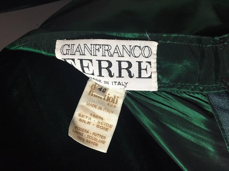 1990s Gianfranco Ferre Forest Green Silk Taffeta and Velvet Ball Gown 10
