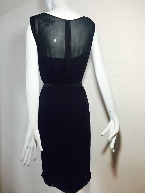 Women's 1950s James Galanos Little Black Dress in Silk Chiffon w/ Front Draping For Sale