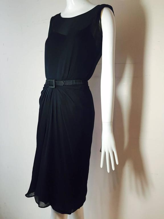 1950s James Galanos Little Black Dress in Silk Chiffon w/ Front Draping For Sale 2