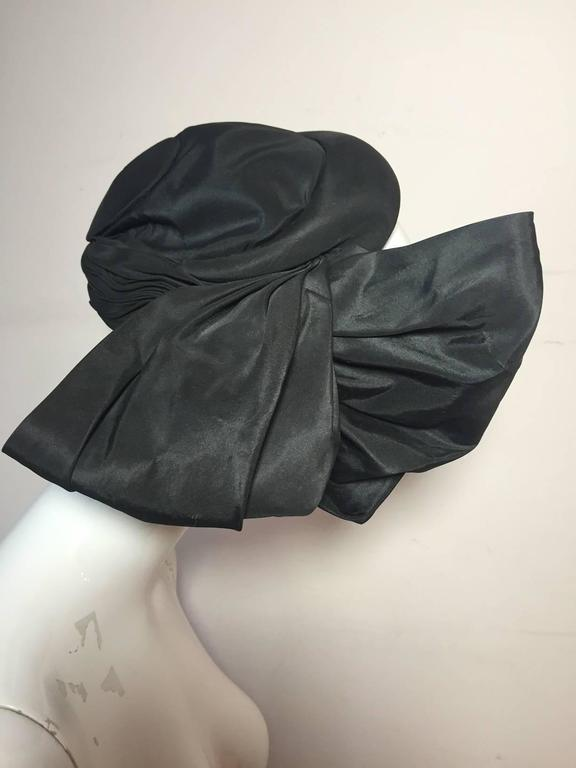 1950s Lilly Dache Couture Silk Taffeta Cocktail Hat w/ Side Bow 2