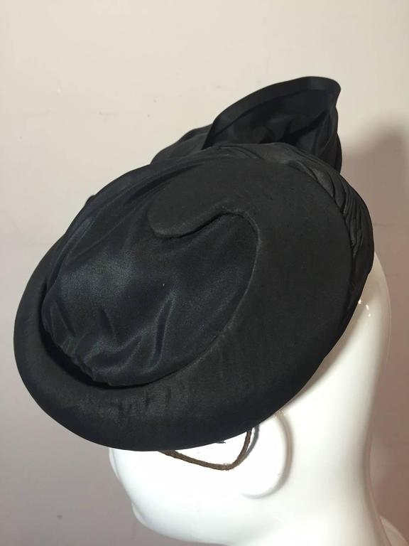 1950s Lilly Dache Couture Silk Taffeta Cocktail Hat w/ Side Bow 3