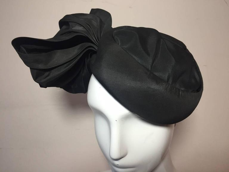 1950s Lilly Dache Couture Silk Taffeta Cocktail Hat w/ Side Bow 4