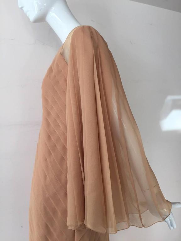 Women's 1980s Galanos Peach Blush Silk Chiffon Pleated Dress w/ Fan Sleeves For Sale