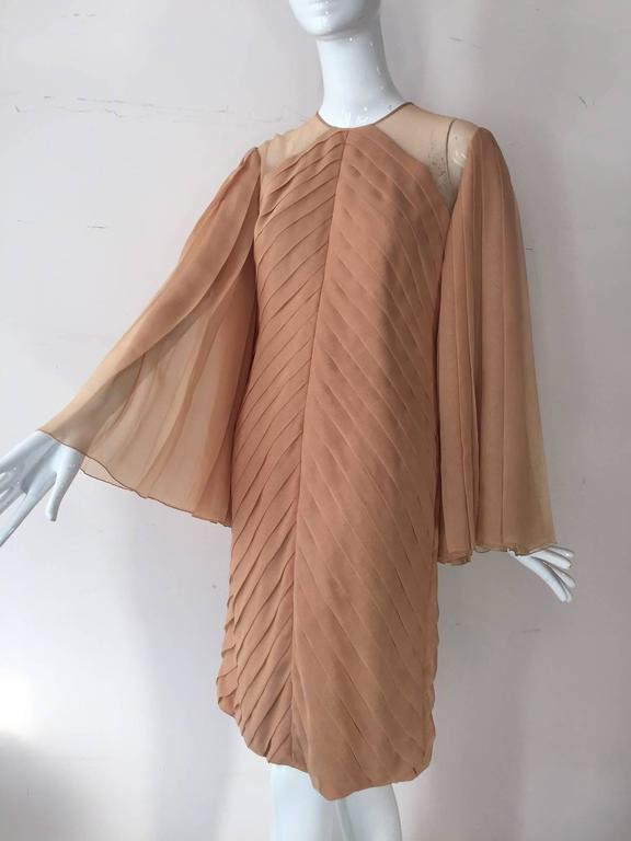 Brown 1980s Galanos Peach Blush Silk Chiffon Pleated Dress w/ Fan Sleeves For Sale
