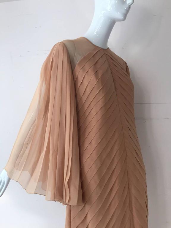 1980s Galanos Peach Blush Silk Chiffon Pleated Dress w/ Fan Sleeves For Sale 2