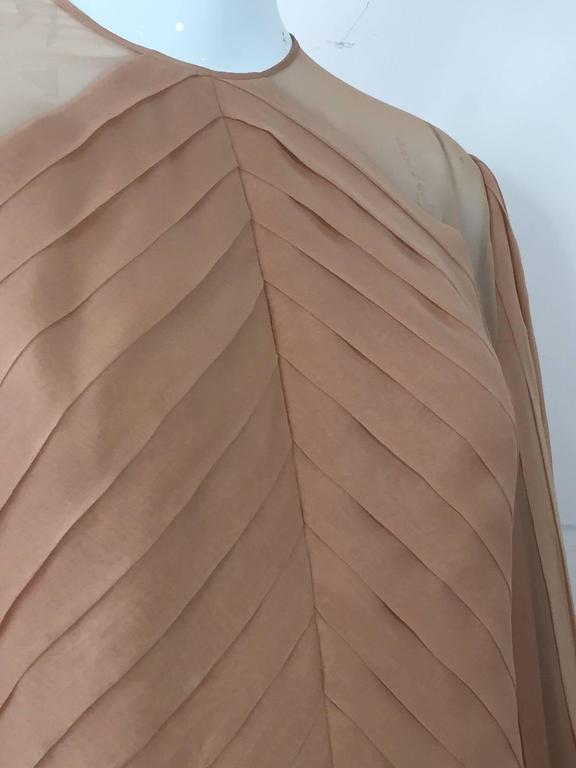 1980s Galanos Peach Blush Silk Chiffon Pleated Dress w/ Fan Sleeves For Sale 1
