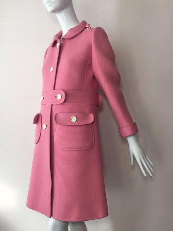 1960s Courreges Pink Wool Mod Coat with White Buttons 2