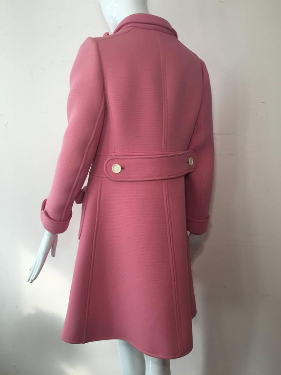 1960s Courreges Pink Wool Mod Coat with White Buttons 3