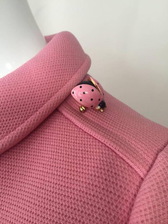 1960s Courreges Pink Wool Mod Coat with White Buttons 4