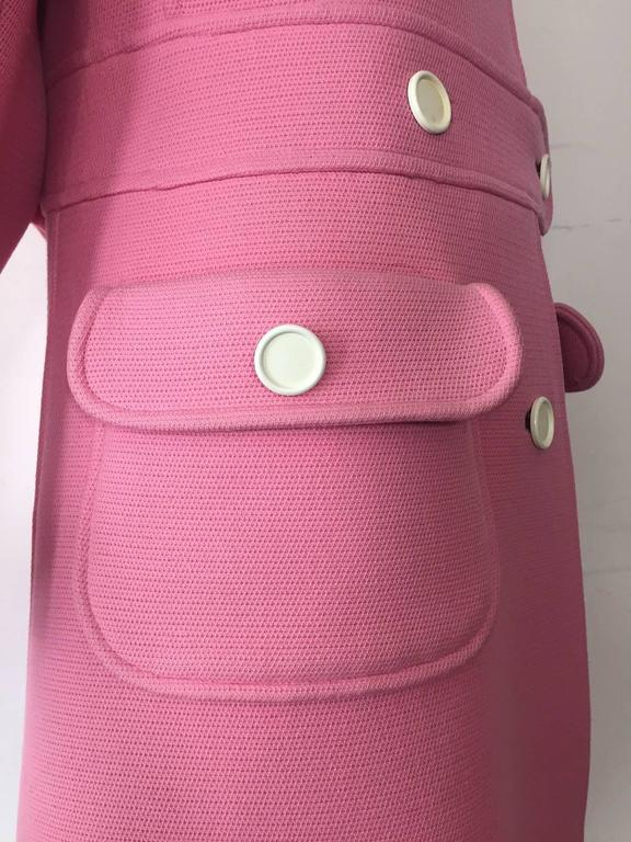 1960s Courreges Pink Wool Mod Coat with White Buttons 5