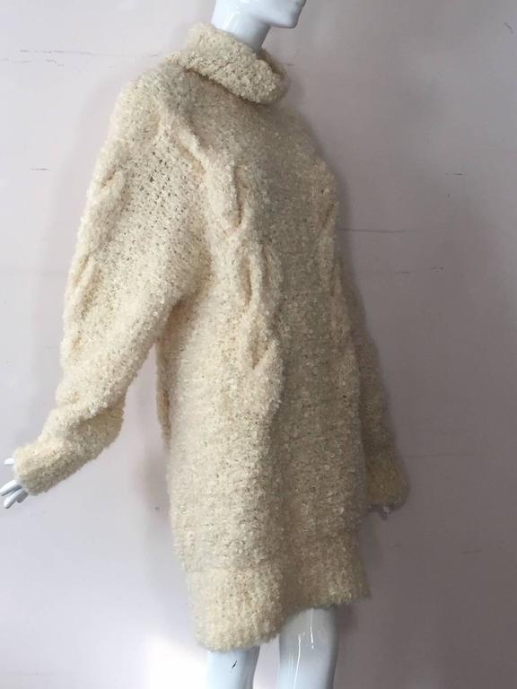 1990s Audrey Daniels Boucle Cable Knit Sweater Dress in Ivory Wool 5