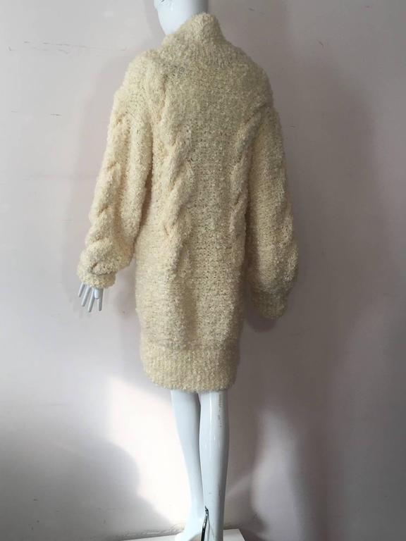 1990s Audrey Daniels Boucle Cable Knit Sweater Dress in Ivory Wool 3
