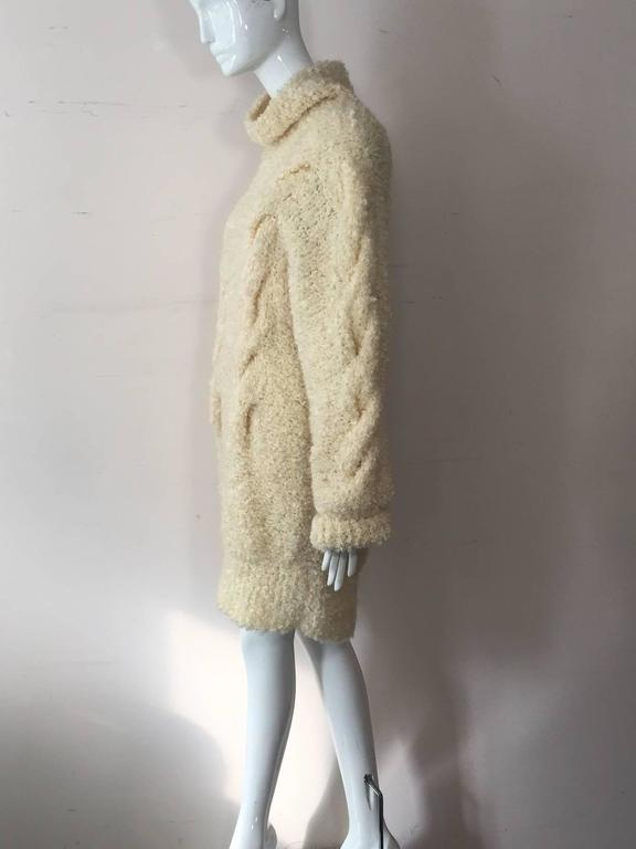 1990s Audrey Daniels Boucle Cable Knit Sweater Dress in Ivory Wool 2