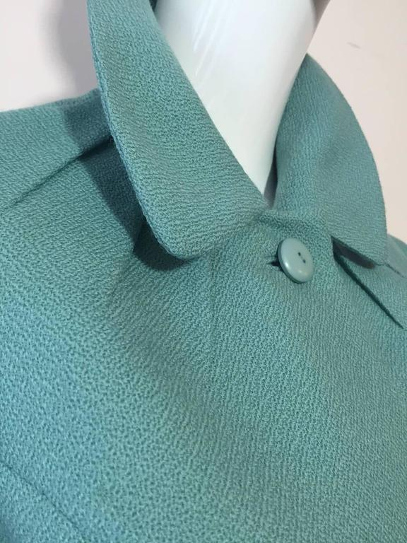 1950s Jean Lanvin - Castillo Turquoise Wool Skirt Suit  In Excellent Condition For Sale In San Francisco, CA