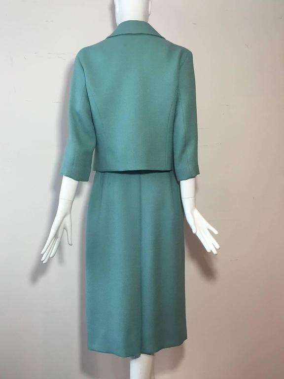 Gray 1950s Jean Lanvin - Castillo Turquoise Wool Skirt Suit  For Sale