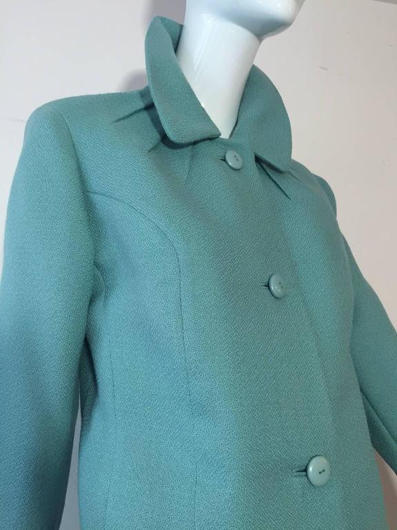 1950s Jean Lanvin - Castillo Turquoise Wool Skirt Suit  6