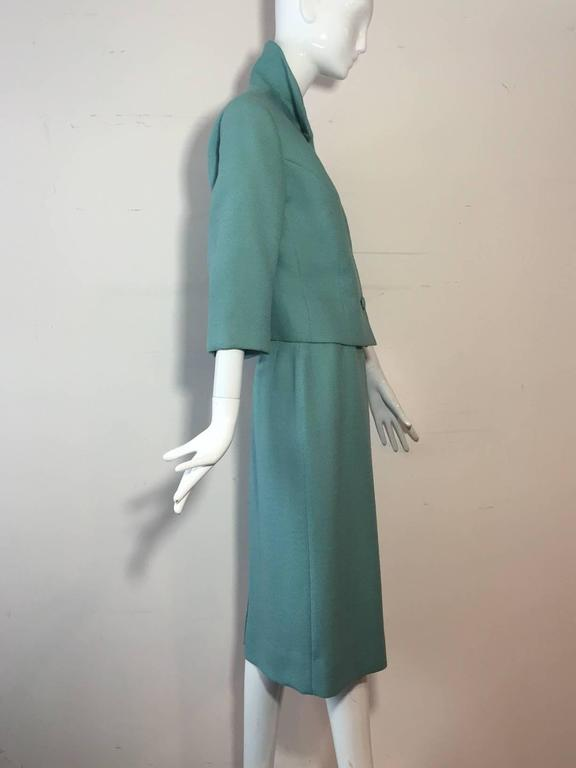 Women's 1950s Jean Lanvin - Castillo Turquoise Wool Skirt Suit  For Sale