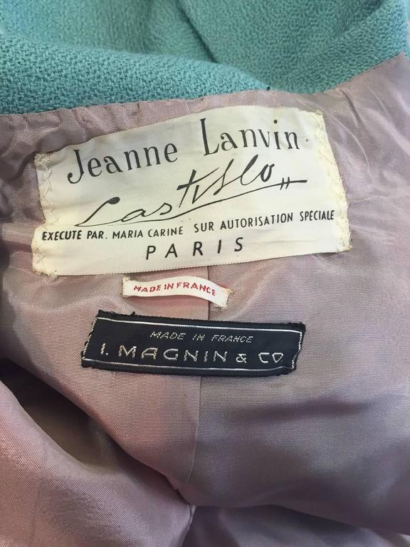 1950s Jean Lanvin - Castillo Turquoise Wool Skirt Suit  For Sale 2