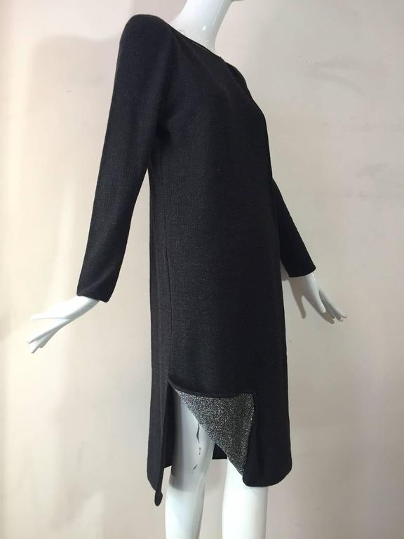 Black 1980s Chloe Wool and Lurex Knit in Silver and Gray For Sale