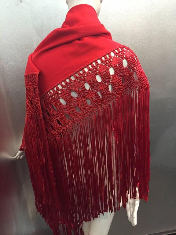 1970s Stunning Wool and Ribbon Cardinal Red Macrame Fringed Shawl 3