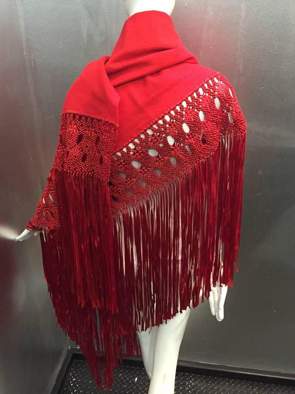 1970s Stunning Wool and Ribbon Cardinal Red Macrame Fringed Shawl For Sale 3