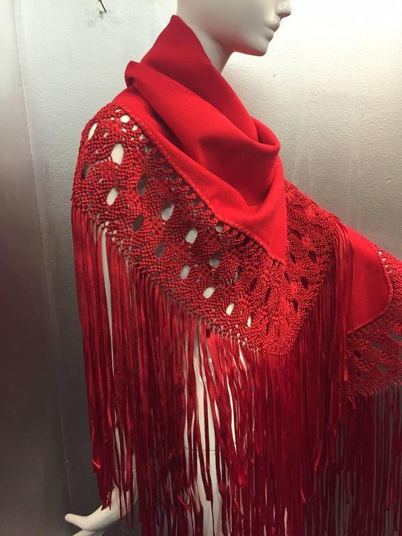 1970s Stunning Wool and Ribbon Cardinal Red Macrame Fringed Shawl 4
