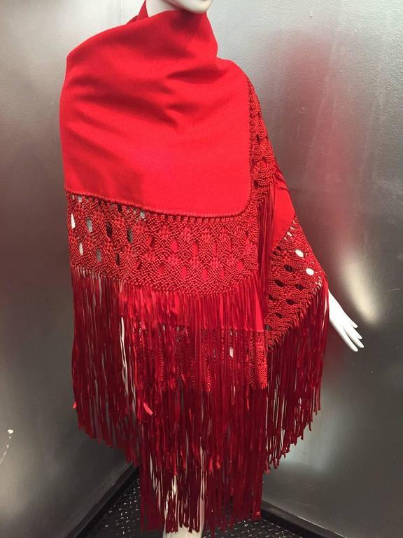 1970s Stunning Wool and Ribbon Cardinal Red Macrame Fringed Shawl 5
