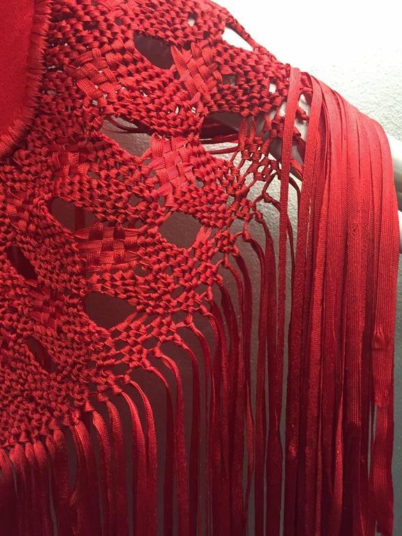 1970s Stunning Wool and Ribbon Cardinal Red Macrame Fringed Shawl 6