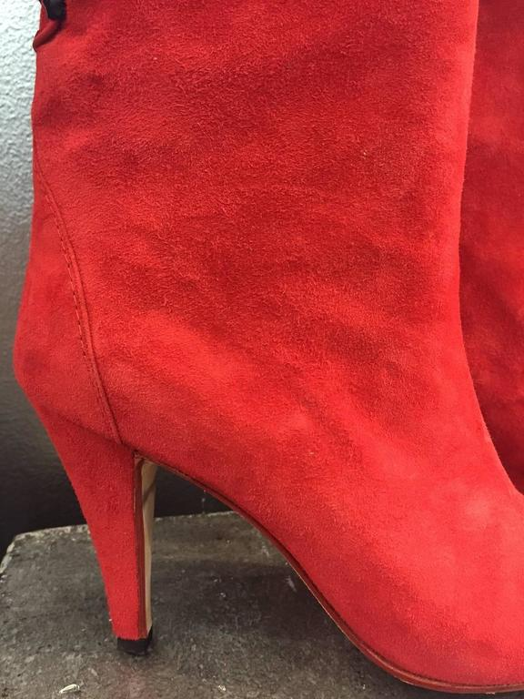 1980s Andrea Pfister Red Suede Over-the-Knee Laced Back Boots  9