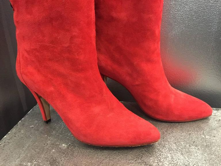 1980s Andrea Pfister Red Suede Over-the-Knee Laced Back Boots  8
