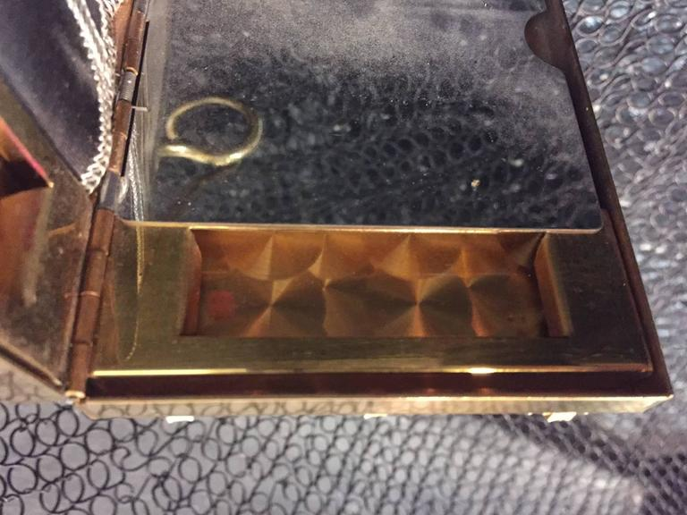 Women's 1950s Gold-Tone Rhinestone Encrusted Evening Compact with Chain Handle For Sale