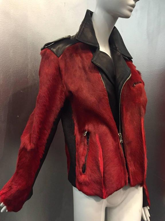 Dolce & Gabbana Red Goat Hide and Black Leather Motorcycle Jacket.  3