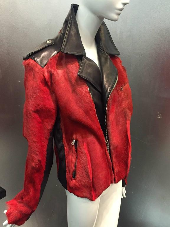 Dolce & Gabbana Red Goat Hide and Black Leather Motorcycle Jacket.  7