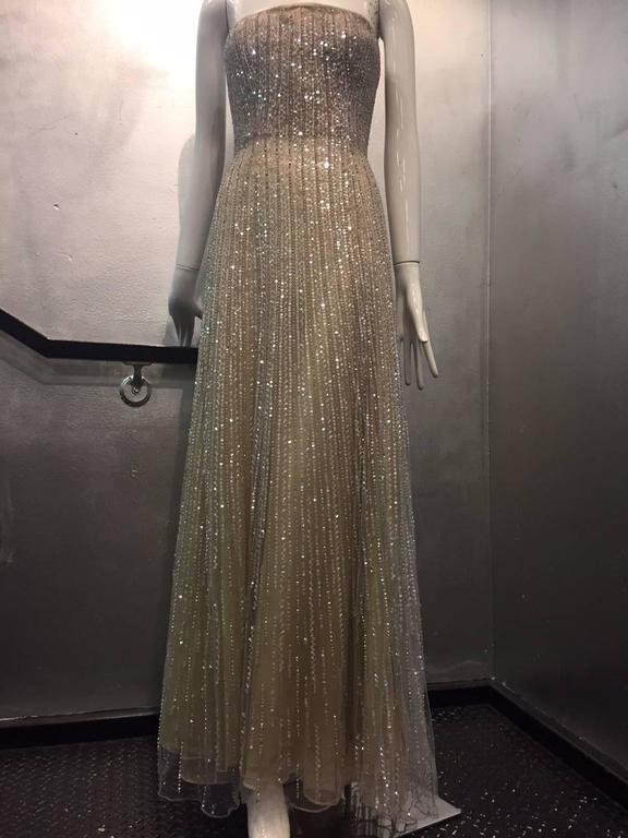 Women's Oscar de La Renta Etherial Beaded and Sequined Tulle Gown  For Sale