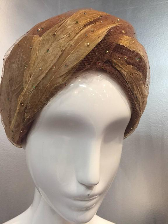 1960s Christian Dior Tulle and Gold Feather Turban w/ Sparkling Glitter 3