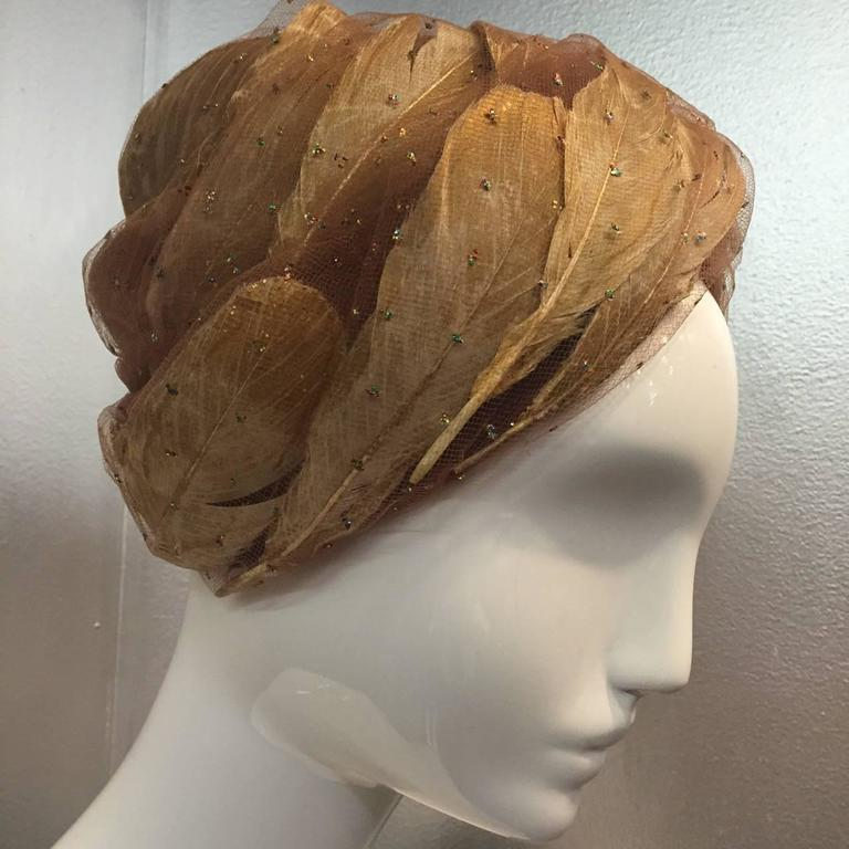 1960s Christian Dior Tulle and Gold Feather Turban w/ Sparkling Glitter 5