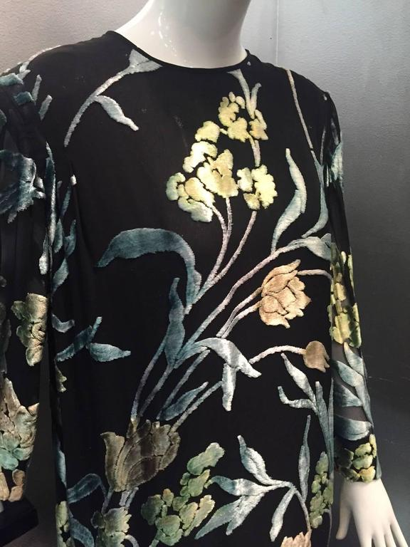 Pauline Trigere Silk Floral Devore Velvet Cocktail Dress w/ Black Fox Hem 5