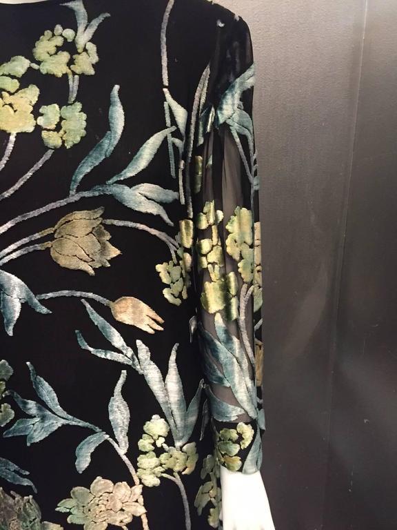 Pauline Trigere Silk Floral Devore Velvet Cocktail Dress w/ Black Fox Hem 6