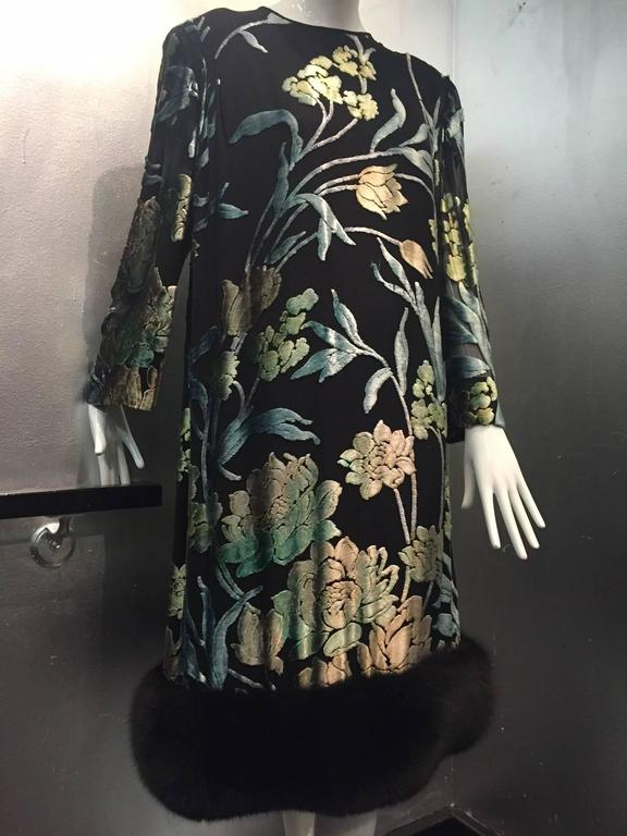 Pauline Trigere Silk Floral Devore Velvet Cocktail Dress w/ Black Fox Hem 2