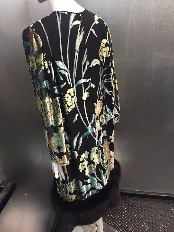 Pauline Trigere Silk Floral Devore Velvet Cocktail Dress w/ Black Fox Hem 3